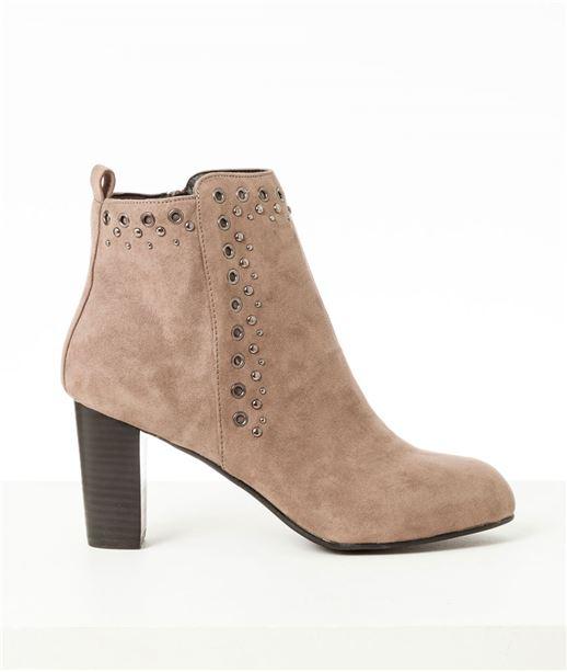 Chaussures femme boots suédine à talons TAUPE