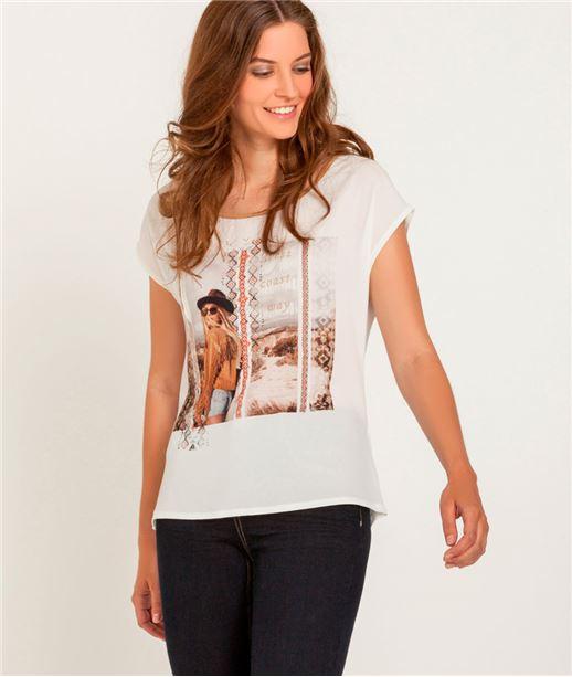 T-shirt femme bimatière imprimé photo ECRU