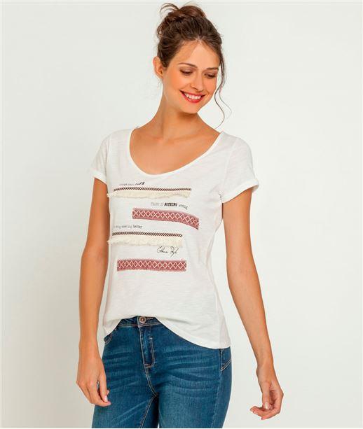 T-shirt femme frangé et avec galons ECRU