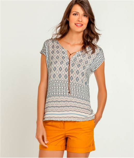 T-shirt femme imprimé bimatière ECRU