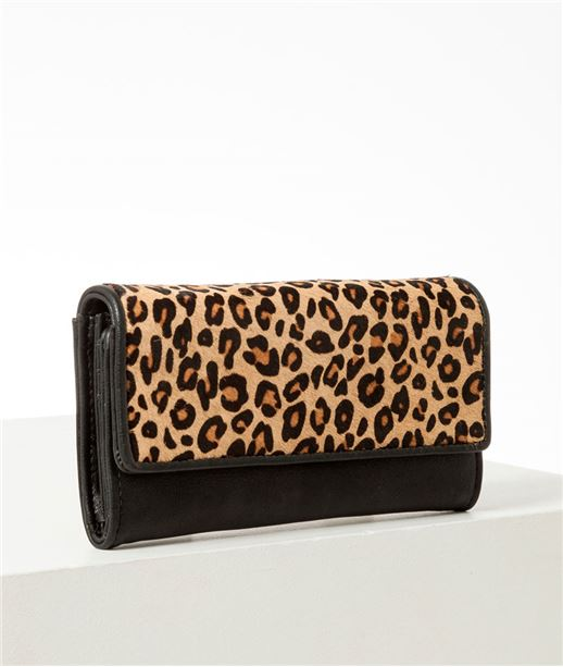 Portefeuille femme léopard NOIR