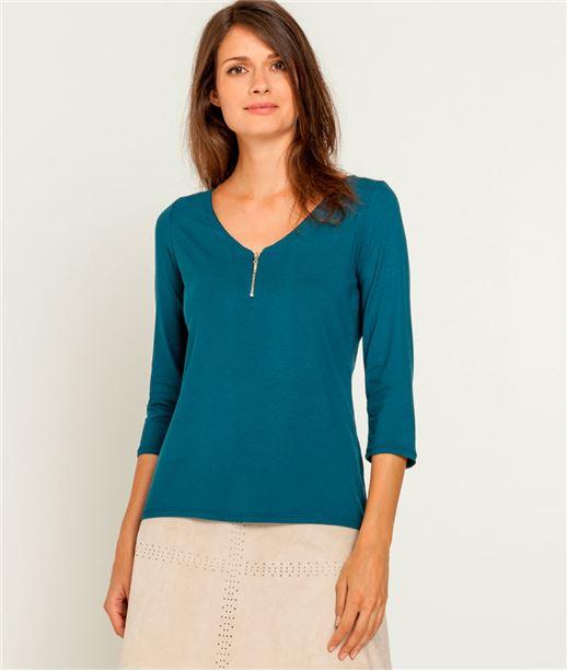 T-shirt femme col V zippé CANARD