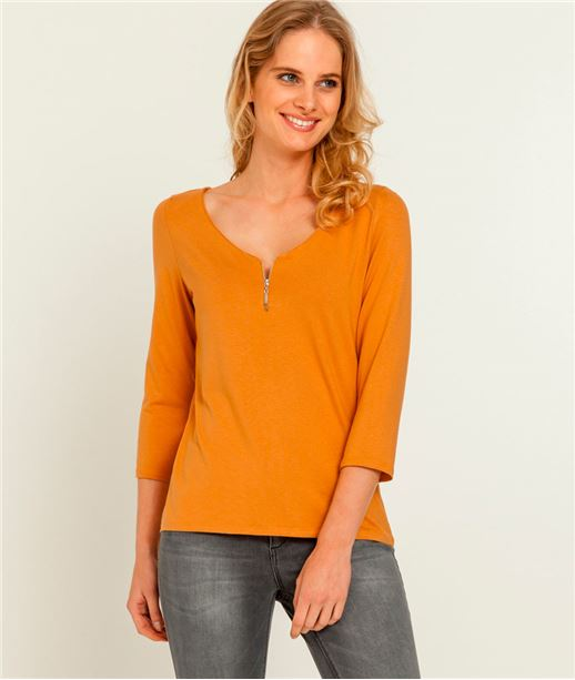 T-shirt femme col V zippé SAFRAN