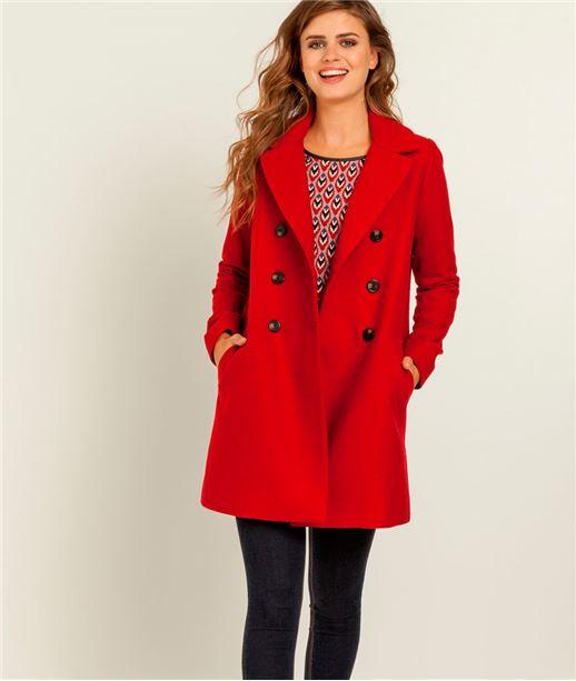 Manteau femme pardessus couleur lainage ROUGE