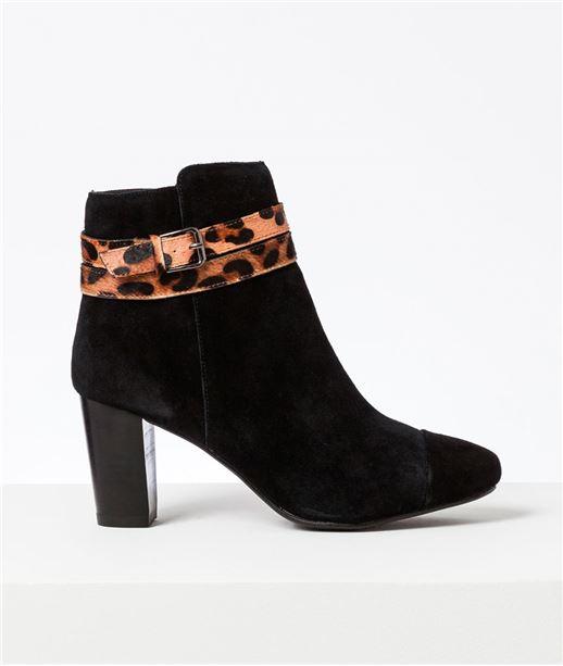 Boots femme cuir sangle léopard NOIR
