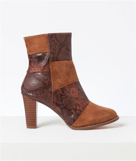 Boots femme bimatière patchwork CAMEL