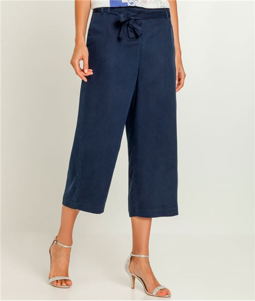 Pantalon femme large raccourci MARINE