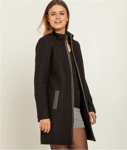 Manteau femme lainage + fermeture zippée NOIR
