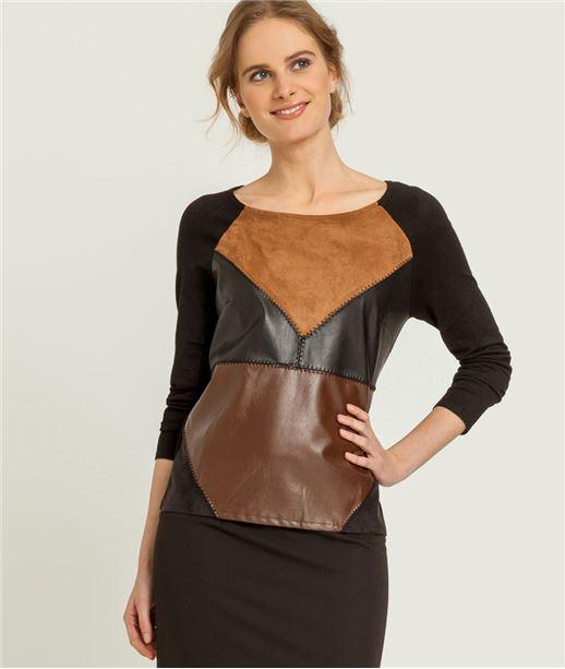 Pull femme patchwork façon cuir NOIR