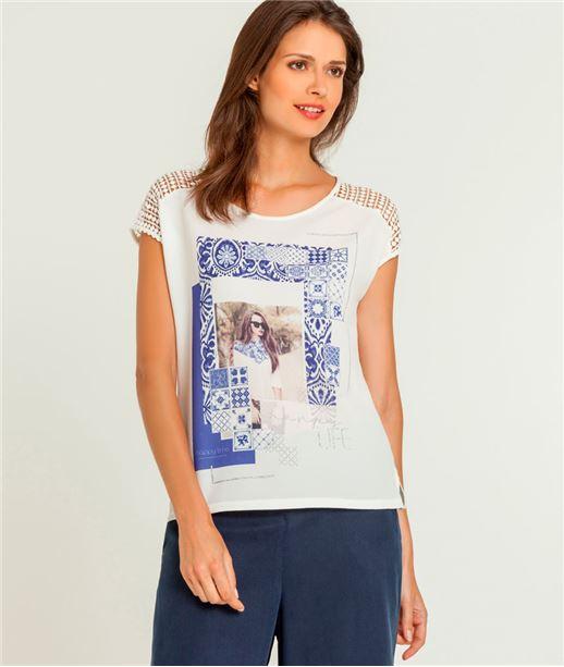 T-shirt femme imprimé et macramé ECRU