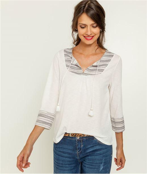 T-shirt femme avec plastron rayé ECRU
