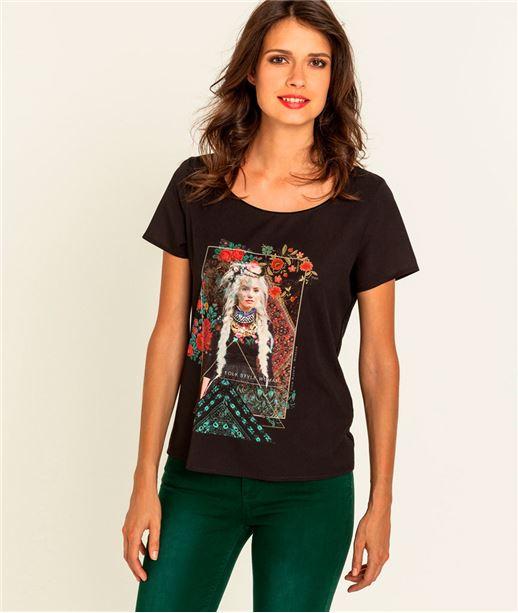 T-shirt femme imprimé photo de femme NOIR