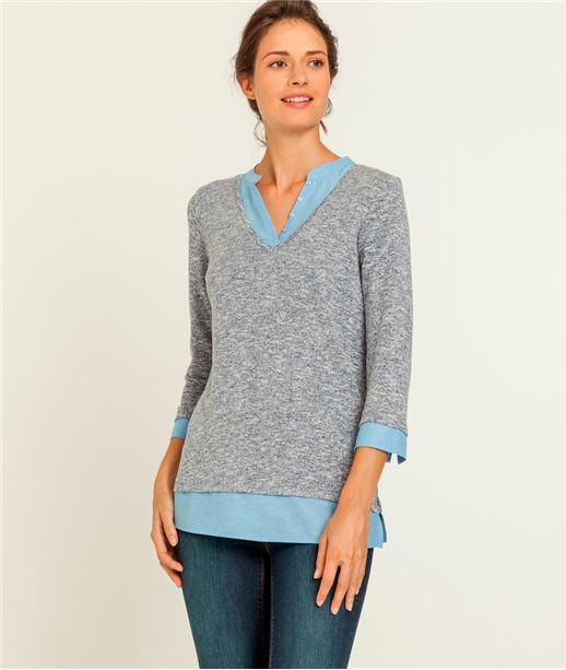 T-shirt femme 2 en 1 pull chiné INDIGO