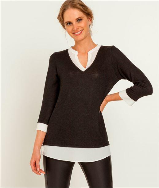 T-shirt femme 2 en 1 pull chiné NOIR
