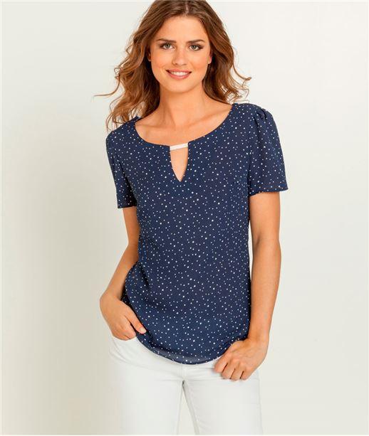 T-shirt femme imprimé étoiles MARINE