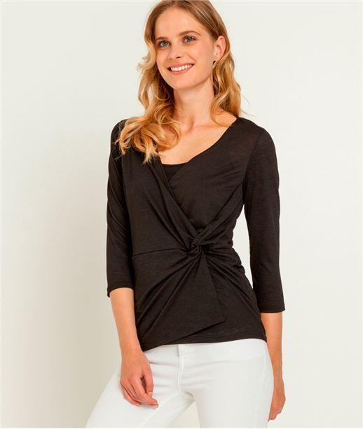 T-shirt femme cache coeur noué NOIR