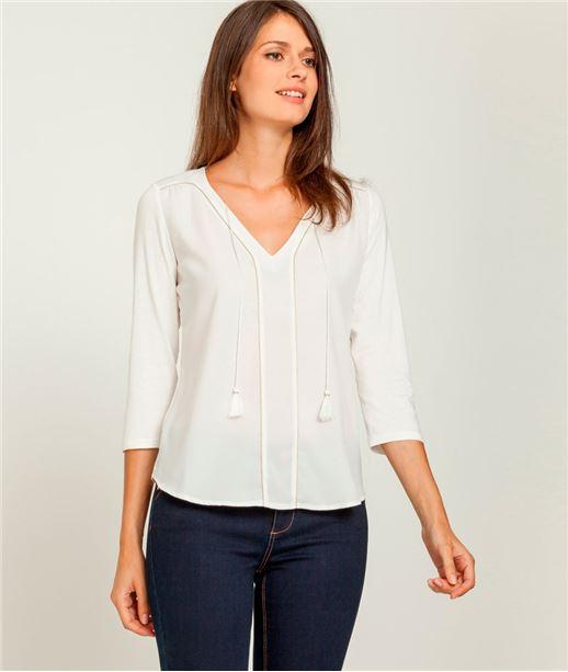 T-shirt femme col V et pompon ECRU