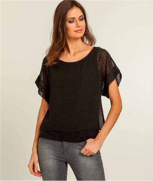 T-shirt femme 2 en 1 plumetis NOIR