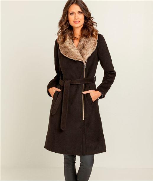 Manteau femme long col fausse fourrure NOIR