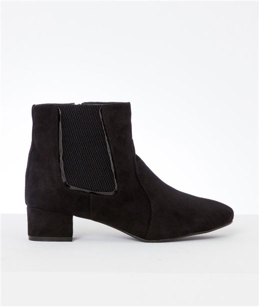 Boots femme suédine élastiquées NOIR