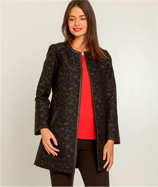 Manteau femme imprimé sans col NOIR