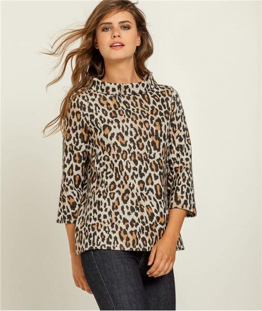 Sweat femme imprimé léopard BEIGE