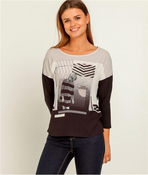 T-shirt femme bimatière imprimé NOIR