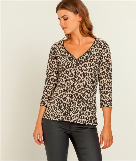 T-shirt femme imprimé léopard BEIGE