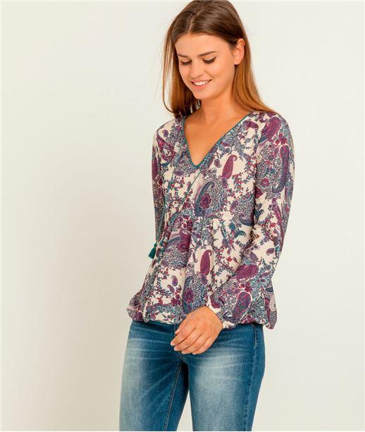 T-shirt femme blouse imprimée cachemire ECRU