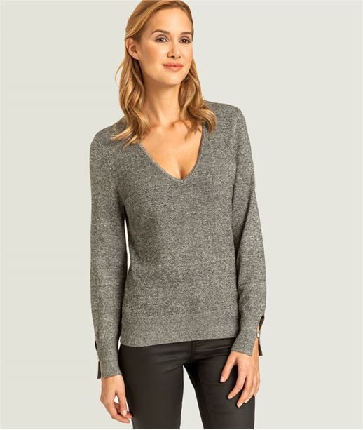 Pull femme col V manches fantaisie GRIS