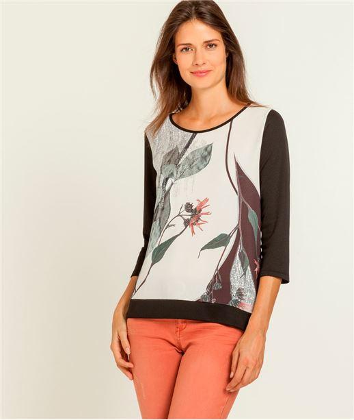 T-shirt femme imprimé bimatière NOIR