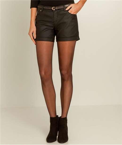 Short femme jean enduit BLACK