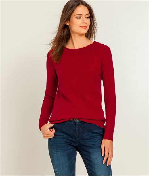 Pull femme uni col rond à large rebord ROUGE