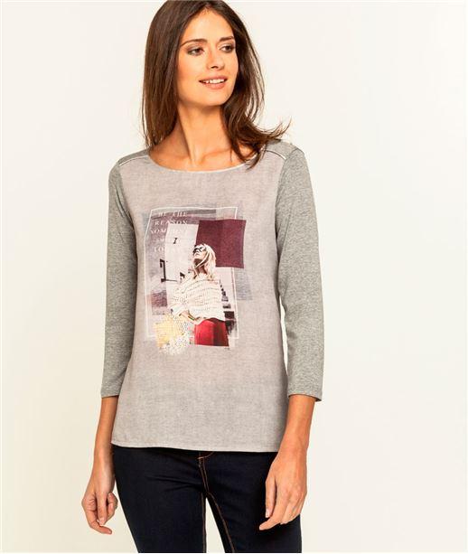T-shirt femme imprimé bimatière GRIS