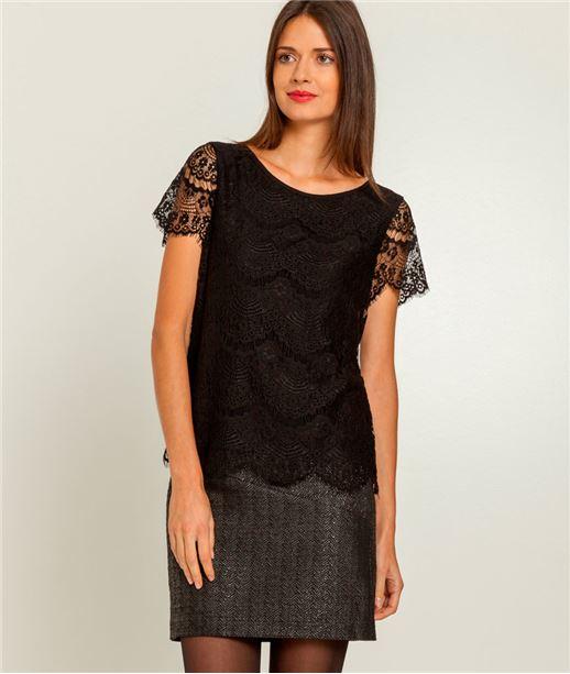 T-shirt femme dentelle à manches courtes NOIR
