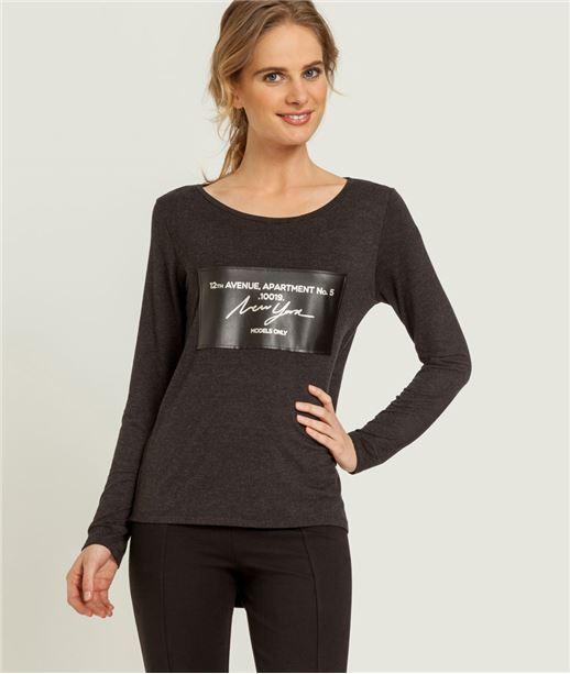 T-shirt femme message sur faux cuir GRIS