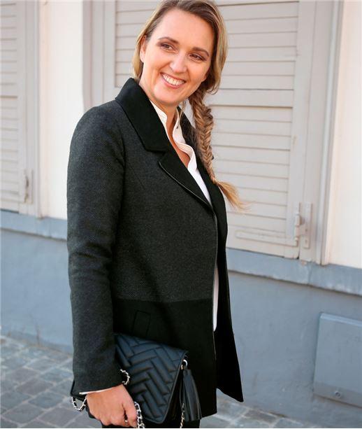 Manteau femme court en lainage GRIS