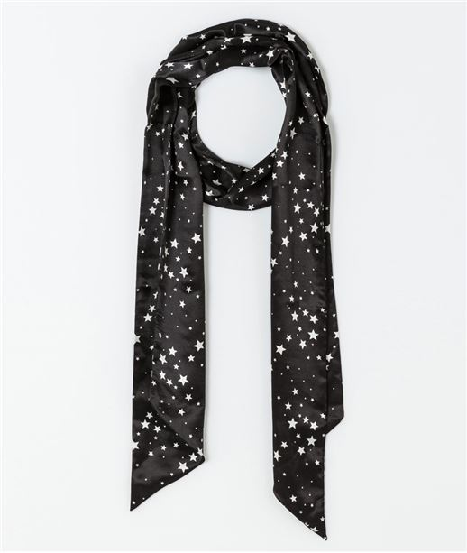 Cravate femme imprimée étoile NOIR