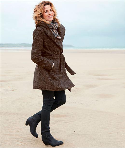 Manteau femme peignoir  lainage capuche TAUPE