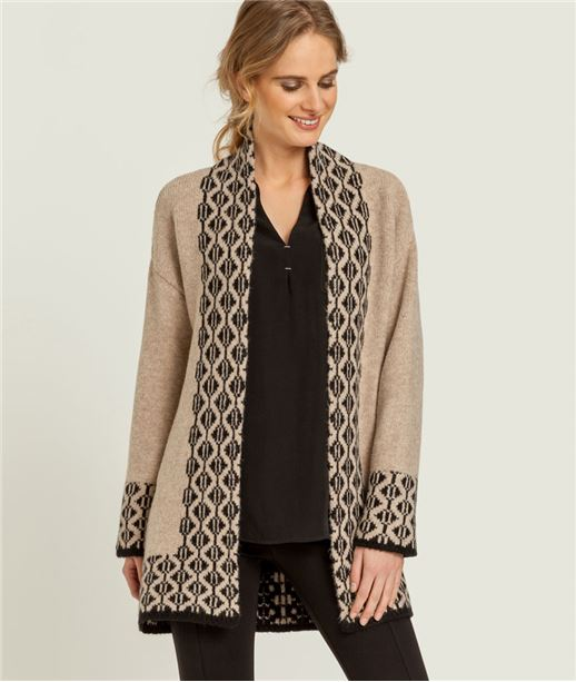 Gilet femme veste longue jacquard BEIGE