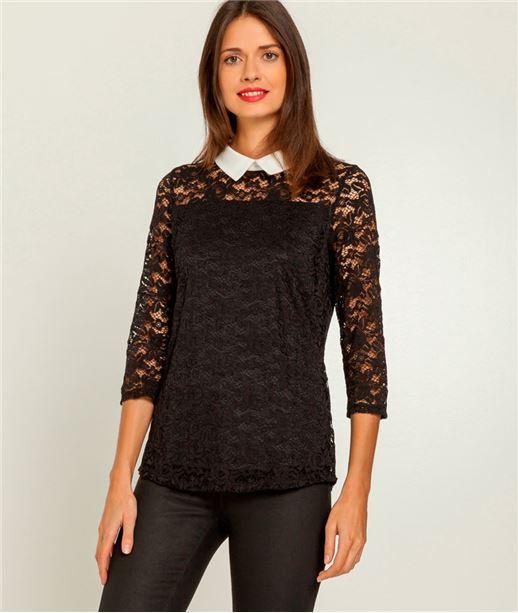 T-shirt femme dentelle et petit col NOIR