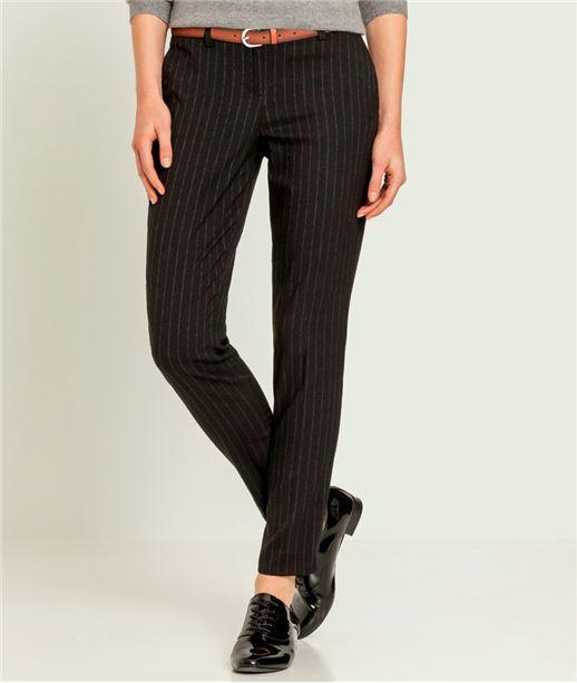 Pantalon femme fines rayures NOIR