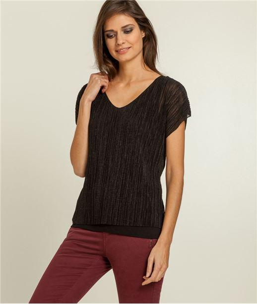 T-shirt femme plissé irisé NOIR