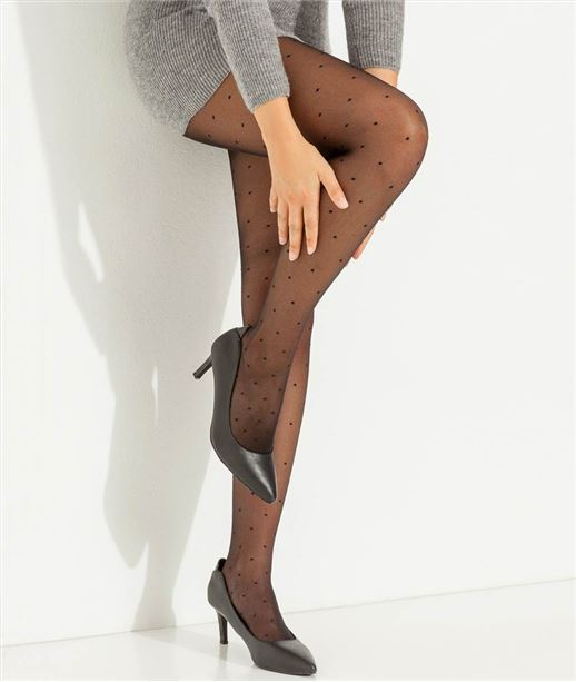 Collants fins plumetis NOIR