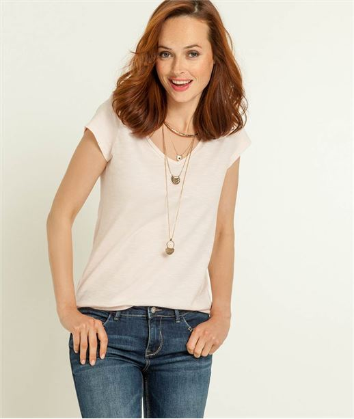 T-shirt femme col V manches courtes ROSE PALE