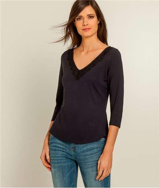 T-shirt femme col V dentelle BLEU MARINE