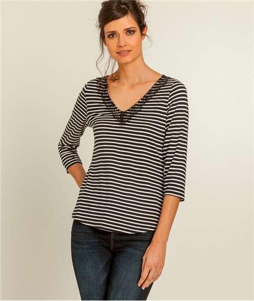 T-shirt femme dentelle et rayures BLEU MARINE