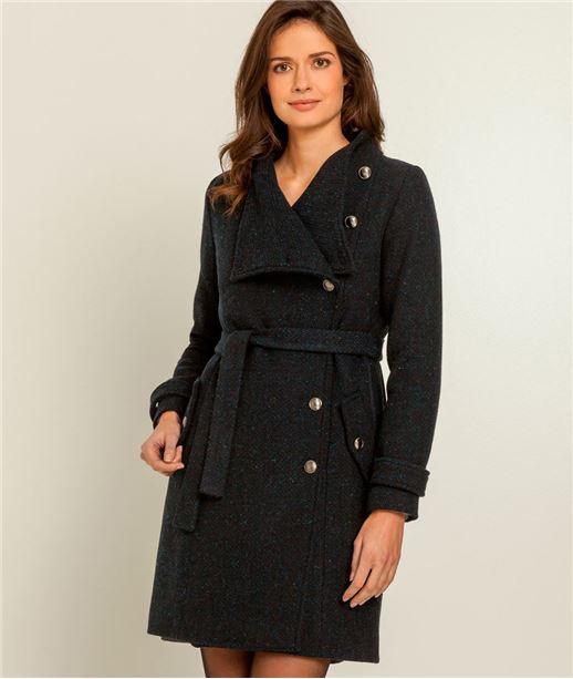 Manteau femme miliaire laine majoritaire BLEU
