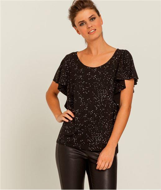 T-shirt femme imprimé étoiles NOIR