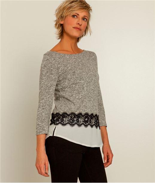 T-shirt femme bimatière et dentelle GRIS